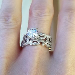 🆕️Sterling Silver-2.59CT White Sapphire Ring Set